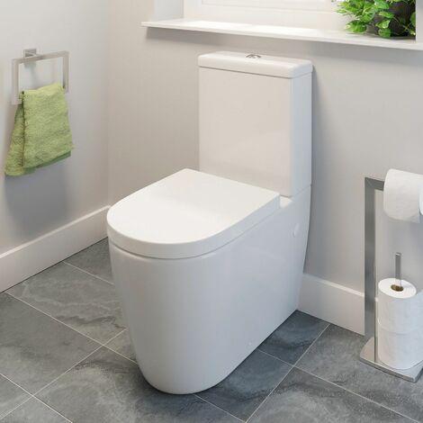 Modern White Bathroom Toilet Round Pan Ceramic Soft Close Seat WC Close Coupled