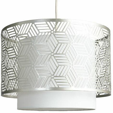 Modern White & Chrome Geometric Design Cylinder Ceiling ...