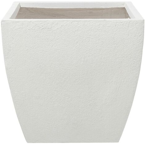 Modern White Clay Flower Pot Weather Resistant 53x53x51 cm Oricos