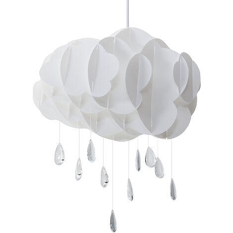 Modern White Cloud Pendant Lamp Plastic Acrylic Glass Raindrop Charms Ailenne