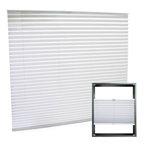 Modern white-coloured Pleated Blinds 120x150cm Plissé Drop Blinds Window Blinds Temporary Blinds