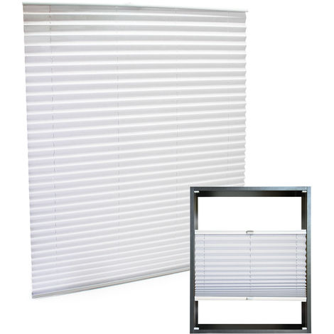 Modern white-coloured Pleated Blinds 45x100cm Plissé Drop Blinds Window Blinds Temporary Blinds