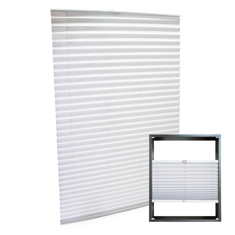 Modern white-coloured Pleated Blinds 45x150cm Plissé Drop Blinds Window Blinds Temporary Blinds