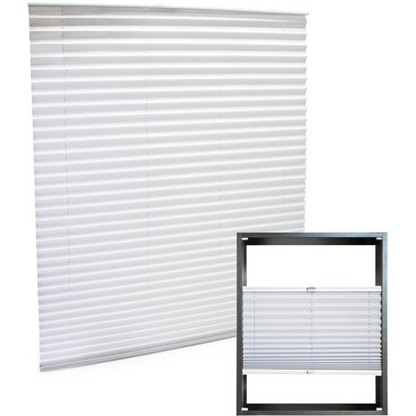 Modern white-coloured Pleated Blinds 55x100cm Plissé Drop Blinds Window Blinds Temporary Blinds