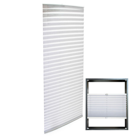 Modern white-coloured Pleated Blinds 65x200cm Plissé Drop Blinds Window Blinds Temporary Blinds