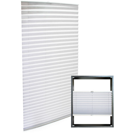 Modern white-coloured Pleated Blinds 70x200cm Plissé Drop Blinds Window Blinds Temporary Blinds