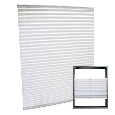 Modern white-coloured Pleated Blinds 85x150cm Plissé Drop Blinds Window Blinds Temporary Blinds