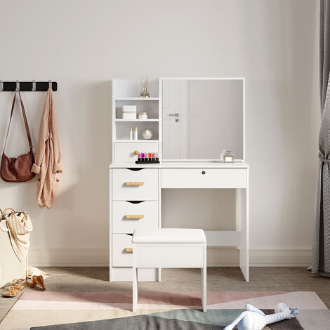 Modern White Dressing Table with Mirror Cabinet
