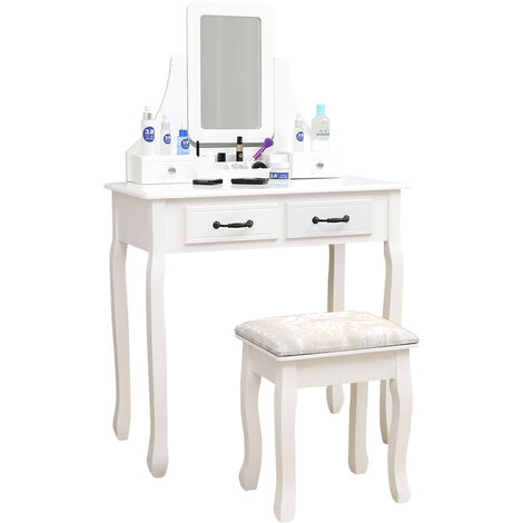 Modern white dressing table with stool 75 * 40 * 130CM