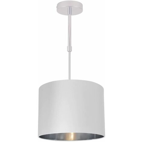Modern White Faux Silk Drum Ceiling Light Shade Adjustable Flush w/ Chrome Inner