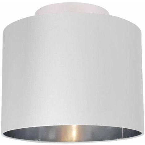 Modern White Faux Silk Drum Ceiling Light Shade Flush w/ Chrome Inner
