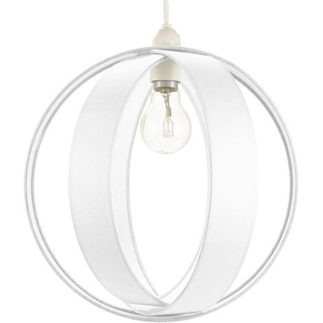 Modern White Faux Silk Fabric Cocoon Globe Design Ceiling Pendant Light Shade by Happy Homewares