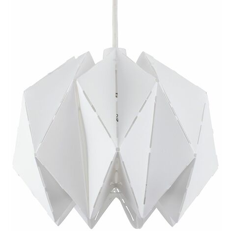 White Geometric Sphere Ceiling Pendant Light Shade + 10W LED Gls Bulb Warm White