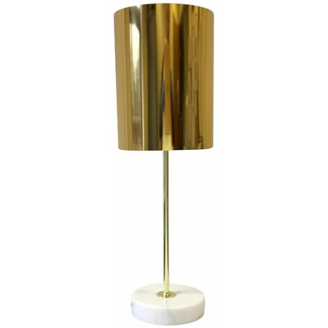 Modern White Marble Table Lamp or Bedside Light with Metallic Cylinder Shade