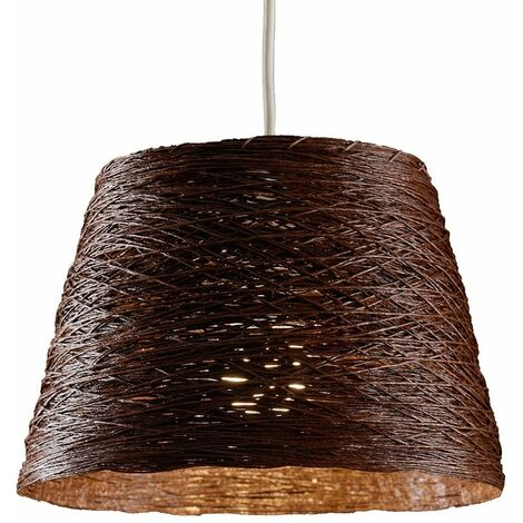 Modern Wicker Rattan Tapered Ceiling Pendant Light Shade