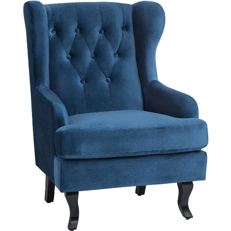 Modern Wingback Armchair Button Tufted Blue Velvet Recessed Arms Alta