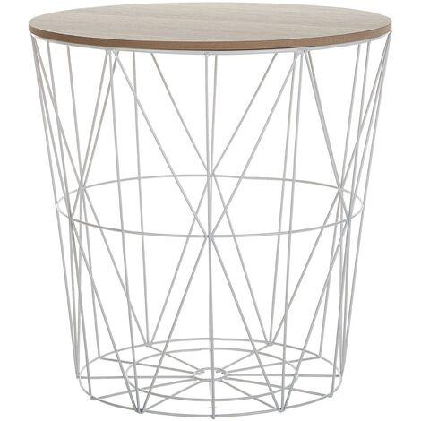 "main image of ""Modern Wire Basket Side Table Storage Round Wooden Top White Metal Lanark"""