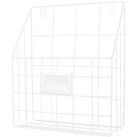 Modern Wire Magazine Newspaper Basket Wall Mounted Post Storage Rack Organizer