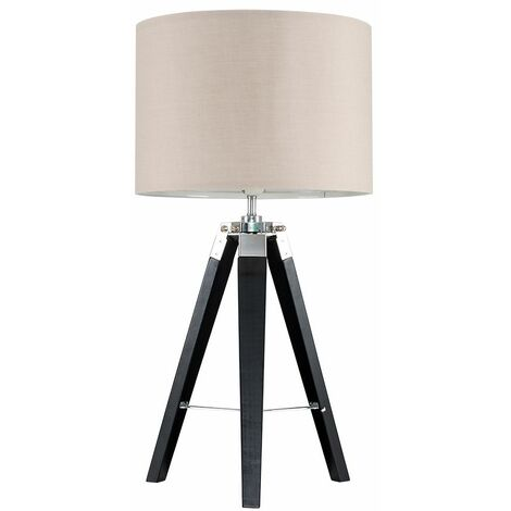 Modern Wood & Tripod Table Lamp With A Cotton Light Shade