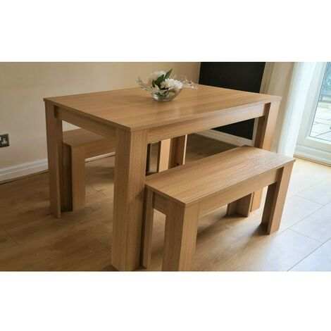 MODERN WOODEN OAK EFFECT DINING TABLE AND 2 BENCHES