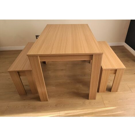 Modern wooden oak effect dining Table and 2 benches (Table with 2 benches)