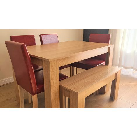 Modern wooden oak effect dining Table and 4 red Faux Leather Chairs and a bench dining set (Table with 4 chairs & Bench)