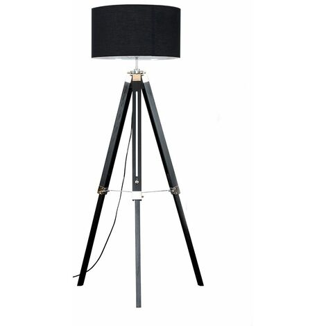 Modern Wooden Tripod Floor Lamp with a Cotton Light Shade - Black