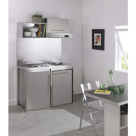 MODERNA Kitchenette complète METALLINE 120x60 Gris Aluminium