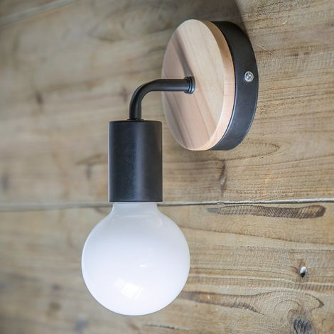 Modernas Aplique de Pared Metal Madera Hierro Lámpara para Entrada de Dormitorio Sala Restaurante Pasillo (Negro)
