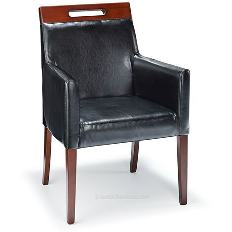Modernavon Black Bonded Real Leather Lounge Dining Chair Walnut Legs Fully Assembled Aniline Leather|Leather