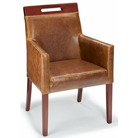 Modernavon Tan Real Leather Tub Dining Relaxing Chair Walnut Legs Fully Assembled Aniline Leather|Leather