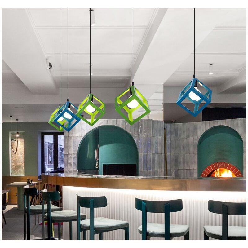Stoex - Moderne Bunte Pendelleuchte Würfelform Hängelampe Vintage Retro Deckenleuchte (7 Farben Zur Auswahl) - Blau