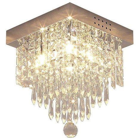 Moderne Cristal Carré Plafonnier, Lustre Industriel Acier Inoxydable Lampe  De Plafond Éclairage Luminaire Design Pour