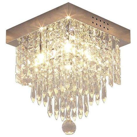 """main image of """"Moderne Cristal Carré Plafonnier, Lustre Industriel Acier Inoxydable Lampe de Plafond Éclairage Luminaire Design pour Chambre à Coucher, Couloir, Salon - Transparent"""""""