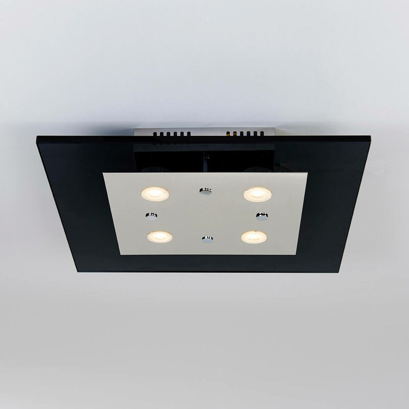 11-italux - Moderne Deckenleuchte Ottone Chrome, schwarz