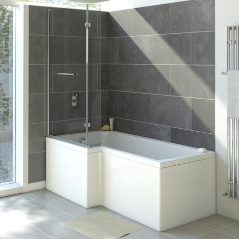 Moderne Dusch- und Badewanne Linksbündig 1700mm - ohne Duschwand