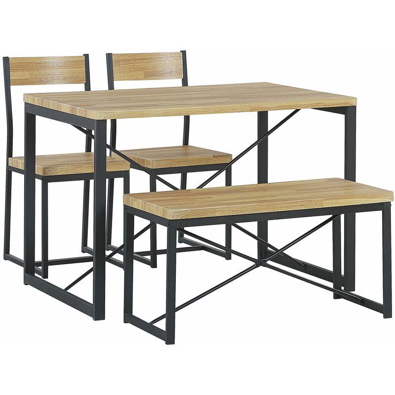 Essgruppe Set Tisch 2 Stühle 1 Sitzbank Braun und Schwarz 110 x 70 cm Esszimmer Wohnzimmer Modern Country Landhausstil - BELIANI