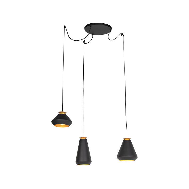Qazqa - Moderne Hängelampe 3-Licht schwarz mit Gold - Mia