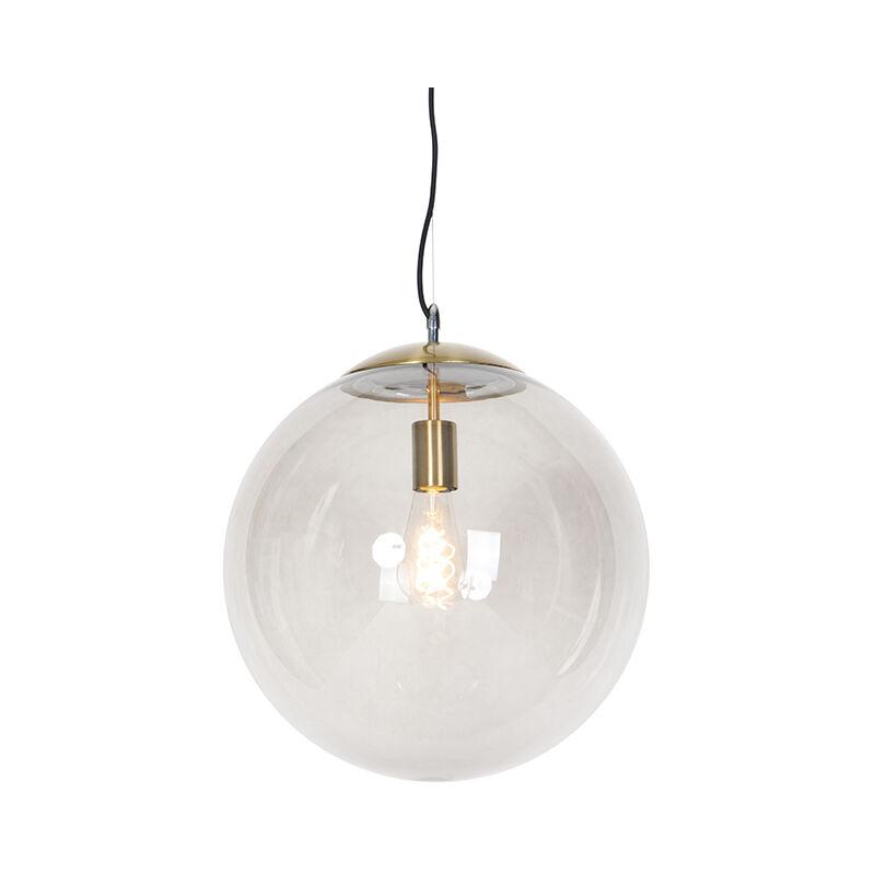 Qazqa - Moderne Hängelampe Messing mit Rauchglas 40 cm - Ball