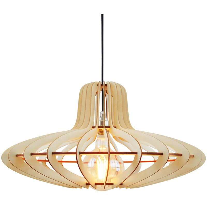 Wodewa - Moderne Holzlampe Medusa aus Birkenholz | Holz Pendelleuchte E27 Fassung | Deckenleuchte Deckenlampe Holzlampe Medusa - Ø 58cm