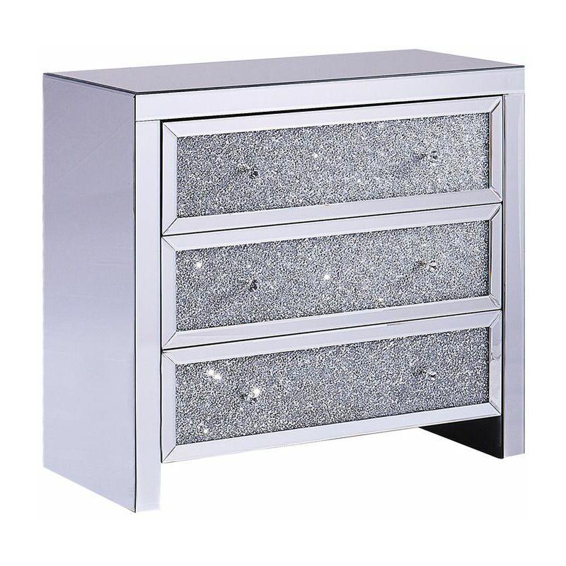 Beliani - Kommode Silber Glas mit 3 Schubladen verspiegelt Griffe Moderner Glamouröser Stil Schlafzimmer Wohnzimmer
