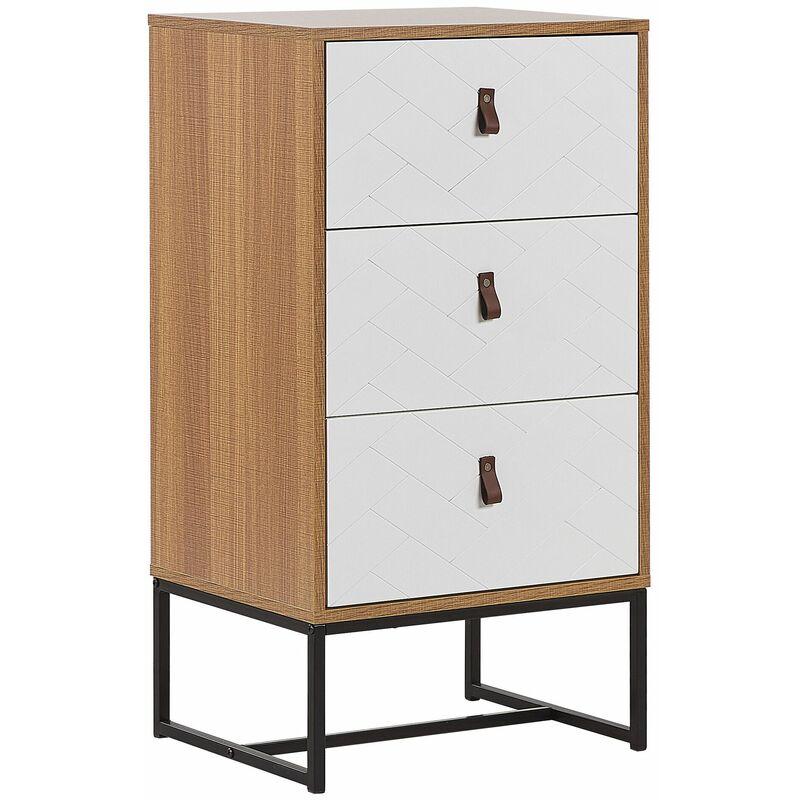 Moderne Kommode Heller Holzfarbton / Weiß 3 Schubladen MDF- Platte Metall für Schlafzimmer für Wohnzimmer