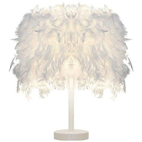 Moderne Lampe de Table Plume Blanche pour Enfants Chambre Salle de lecture