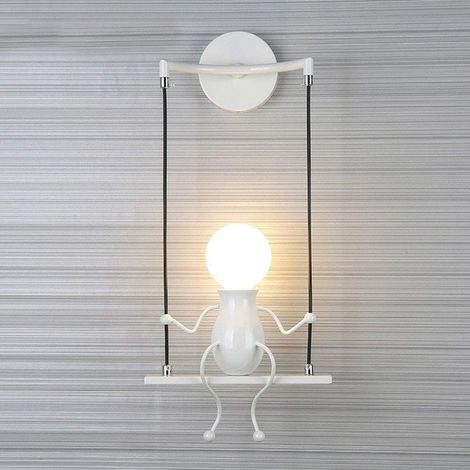Moderne Lampe Murale Applique Créatif Simplicité Design Petite Personne Créatif E27 Luminaire Blanc pour Chambre d'enfant Couloir Décoratives Eclairage Cuisine Loft Bar