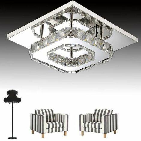 Moderne LED Plafonnier Cristal Miroir Acier Inoxydable Luminaire Lustre Eclairage 12W Blanc