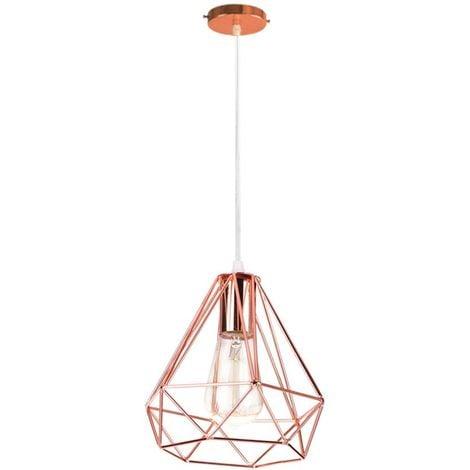 Moderne Lustre Suspension Forme Diamant, Lampe de Plafond Abat-Jour Luminaire Métal Style industrielle Décor,Or Rose