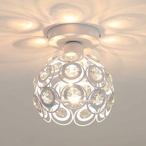 Moderne Plafonnier Industrielle Cristal en Métal Fer 20cm, Luminaire l'éclairage Intérieur Lamps de Plafond Abat-Jour Blanc
