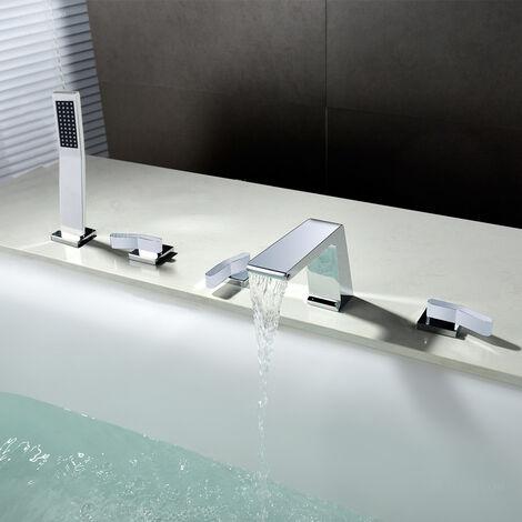 Moderne Strand-Badewannenarmatur aus massivem Messing und poliertem Chrom