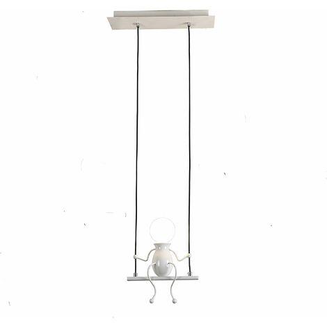 Moderne Suspension Créatif Poupée Fer Gens Balançoire Enfants Lampe suspendue Salon Chambre Créative Lumière (Blanc)
