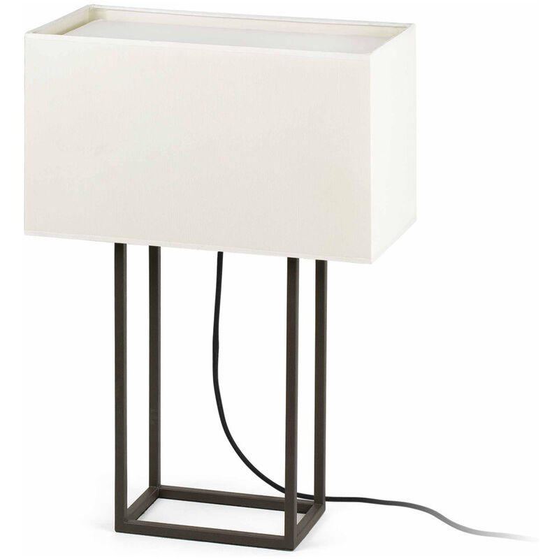 Click-licht.de - Moderne Tischleuchte Vesper aus Metall/Textil und in braun/beige